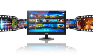 Media telecommunications and streaming video concept: widescreen TV display with streaming video gallery and filmstrip with color pictures isolated on white reflective background